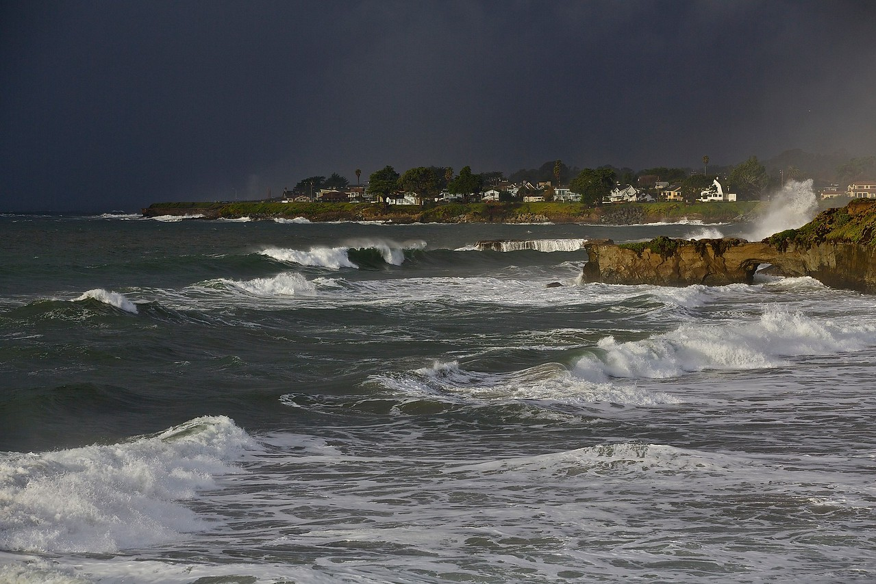 Storm In The Mix.  West Cliff Drive, Santa Cruz