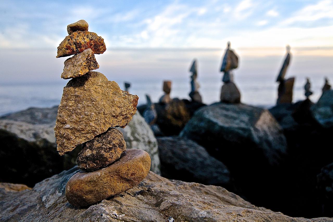 Improbable Stones.  West Cliff Drive, Santa Cruz.