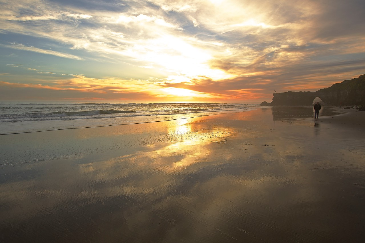 Solitary Man.  Santa Cruz Beach