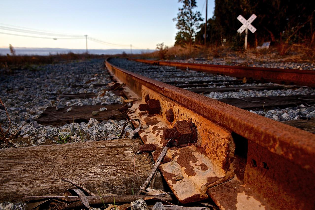 Railroad Tracks.  Davenport, Santa Cruz County