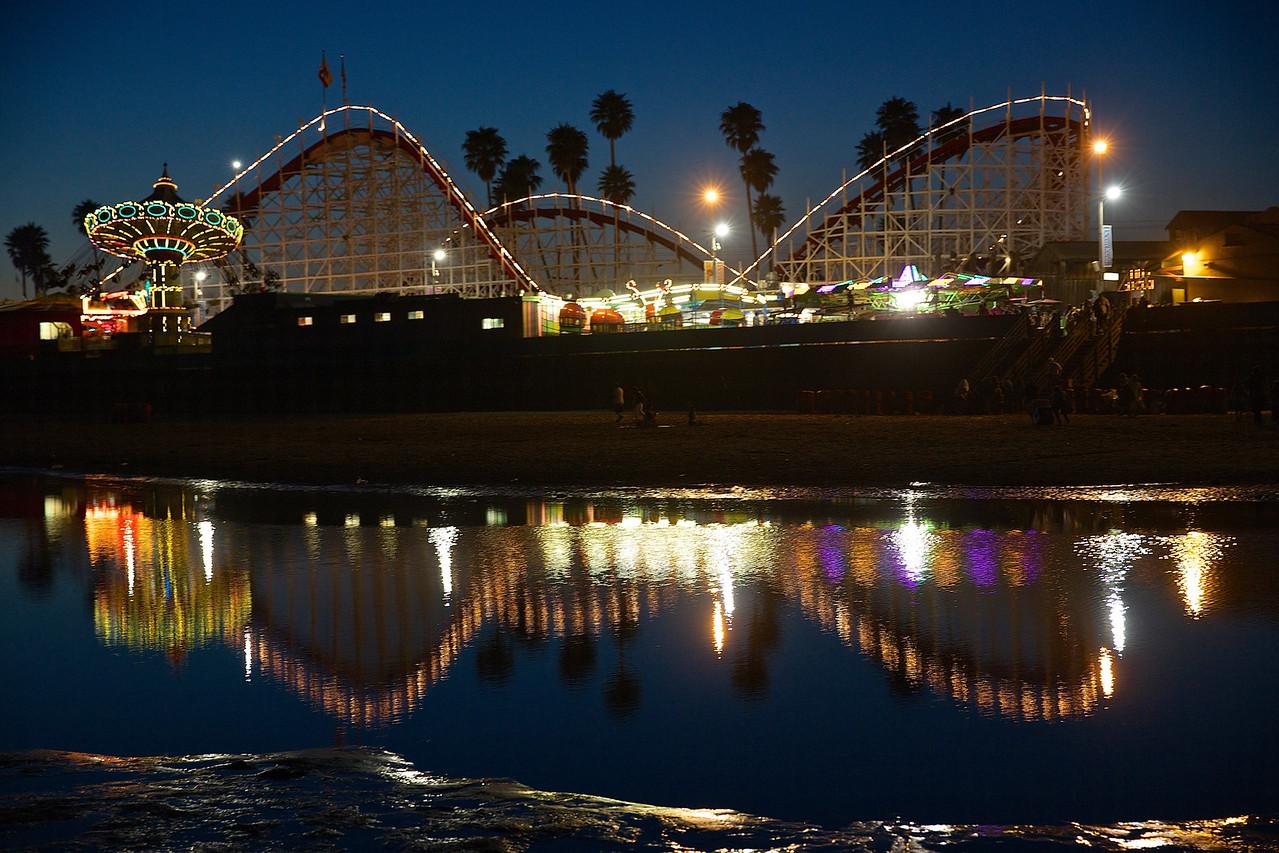 Boardwalk Roller Coaster At Night #1.  Santa Cruz.