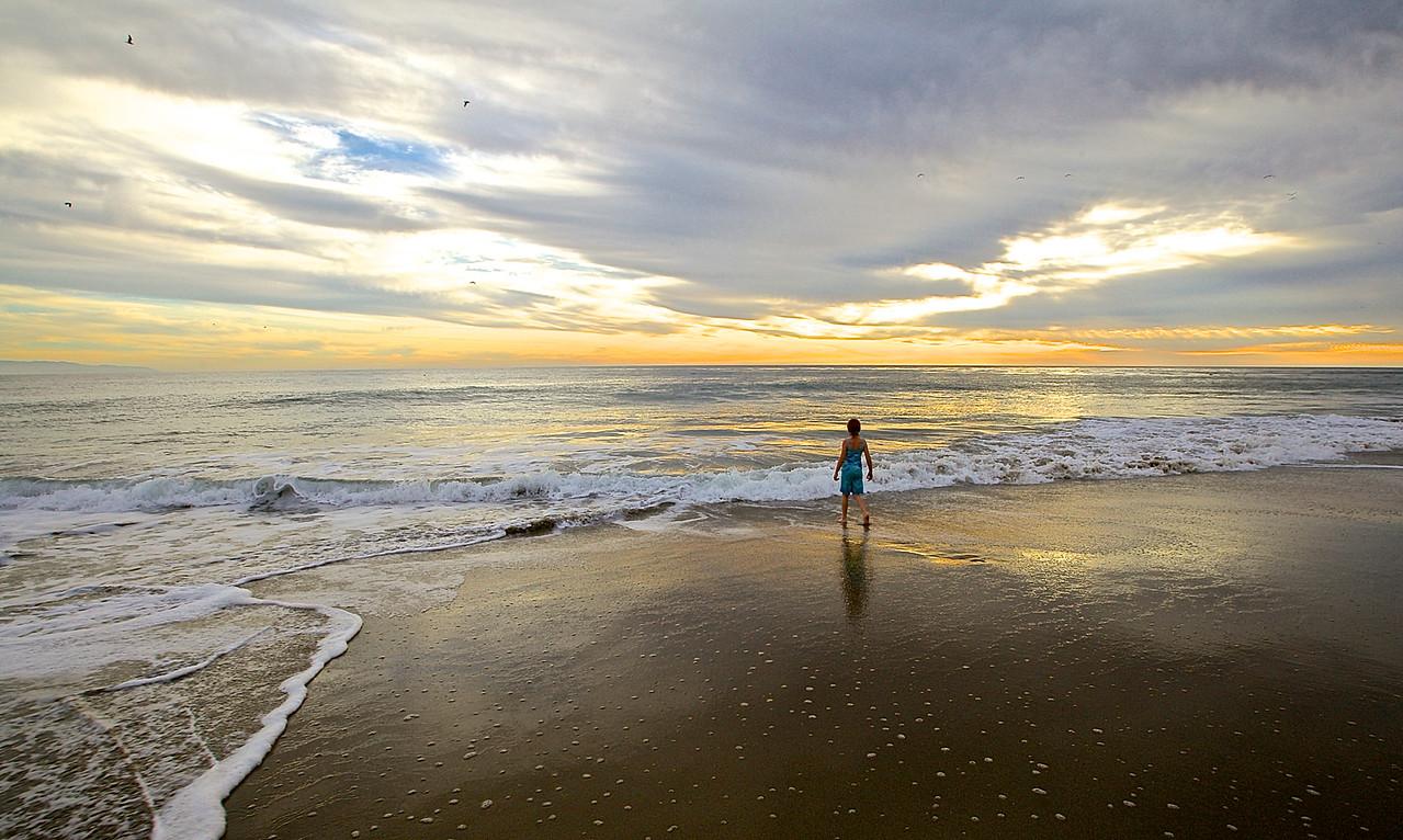 Girl Before The Pacific.  Santa Cruz Beach