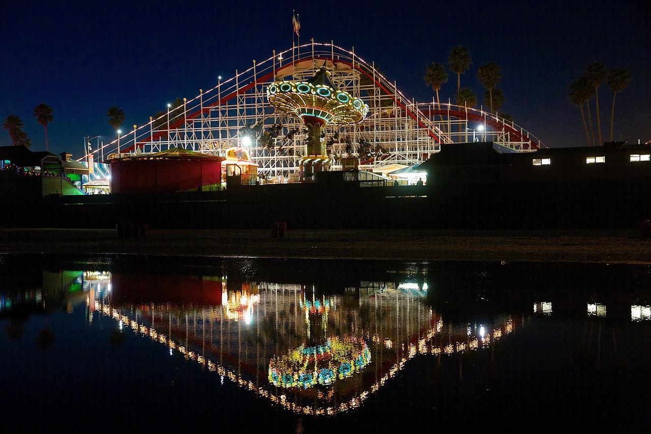 Roller Coaster At Night #2.  Santa Cruz Boardwalk.
