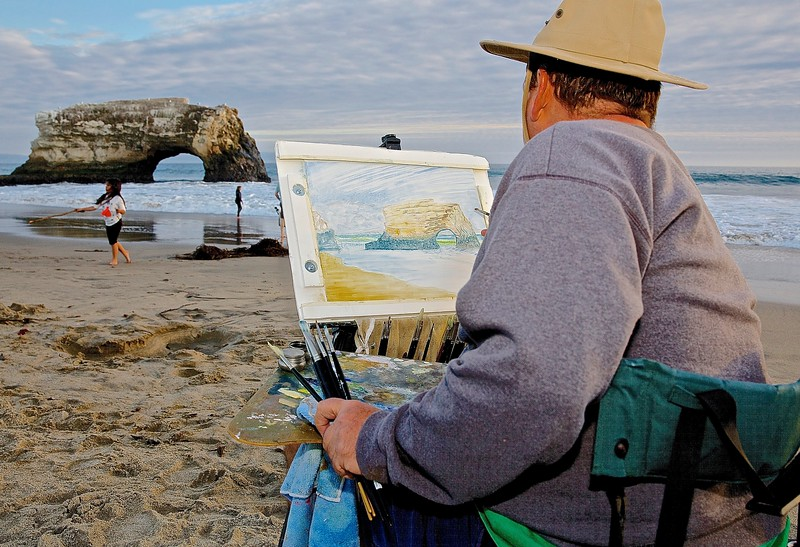 Artist.  Natural Bridges, Santa Cruz.