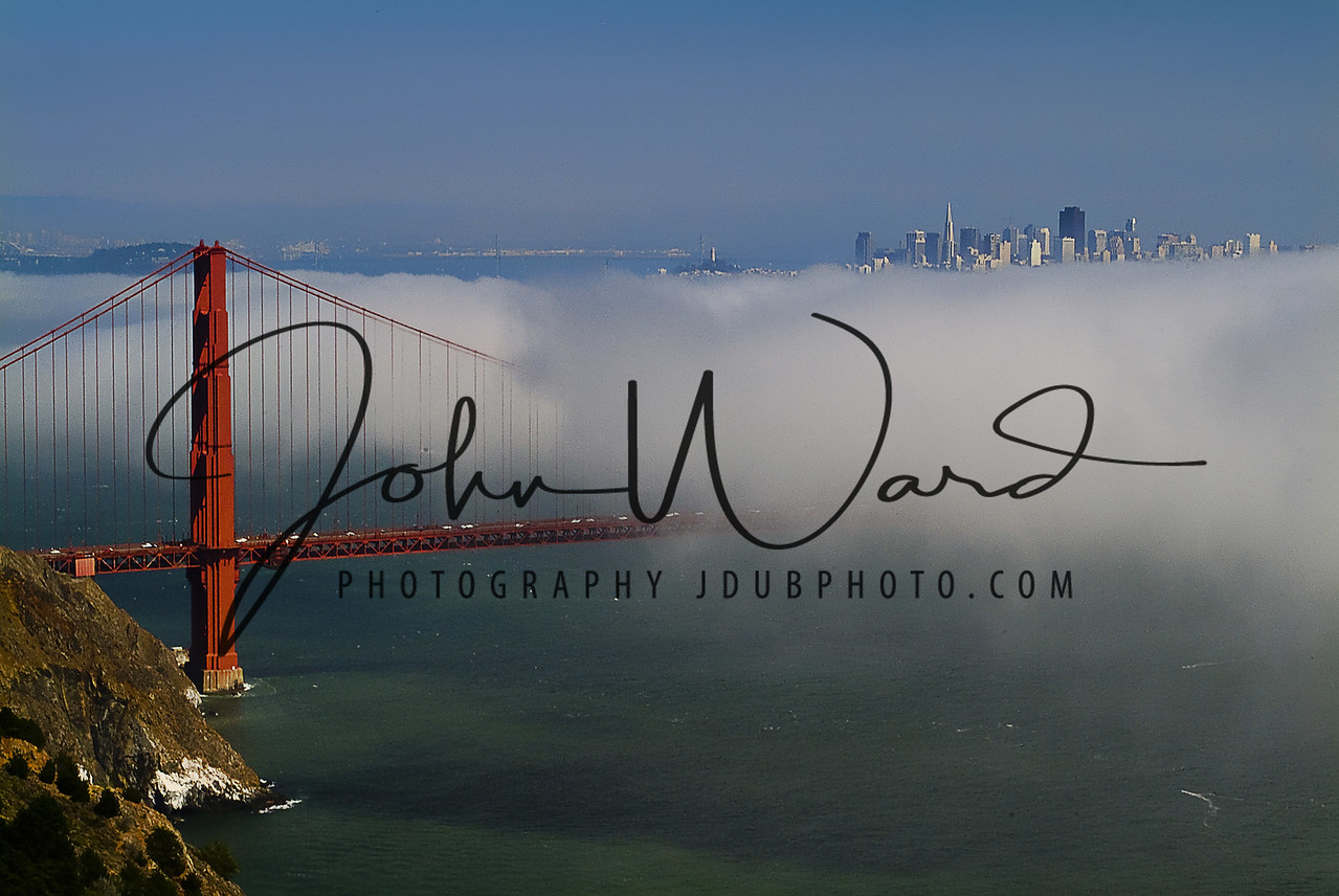 Golden Gate with City in Fog