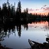 Bright Sunset Over Dark Lake