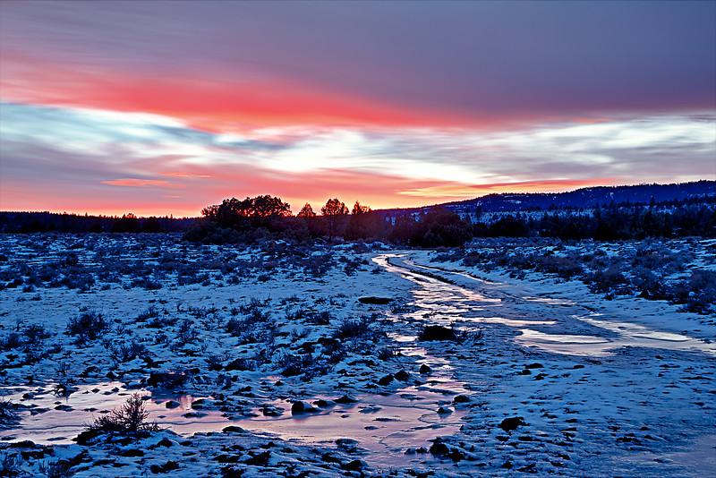 Frozen Road Sunset