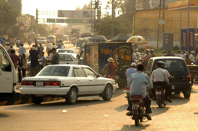 Rush hour traffic Phnom Penh