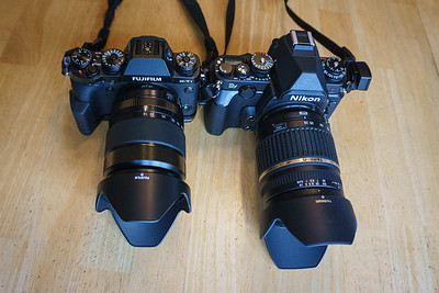 Fuji X-T1 with 18-135mm and Nikon Df with Tamron 28-300mm