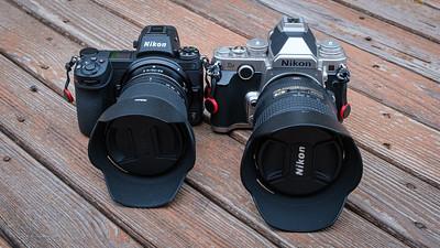 Nikon Z7 & 24-70mm f/4 S lens next to Nikon Df with 24-120mm f/4 lens