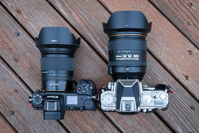 Nikon Z7 & 24-70mm f/4 S lens next to Nikon Df with 24-120mm f/4 lens
