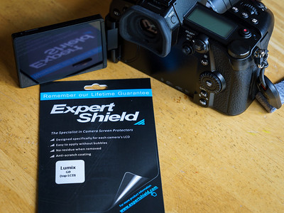 First thing I do with a new camera is slap on the Expert Shield screen protector.  It's $12.95 well spent!