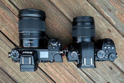 Nikon Z7 w/24-70 f/4 on left, Lumix G95 w/12-60 kit lens on right