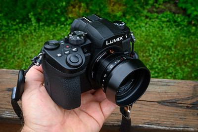 In the hand with Panasonic Leica 15mm f/1.7 lens - I love this lens!