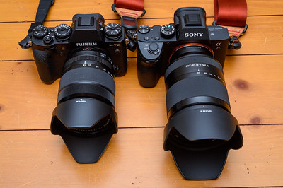 Fuji X-T2 with 18-135mm (27-202) and Sony a7R III with 24-200mm