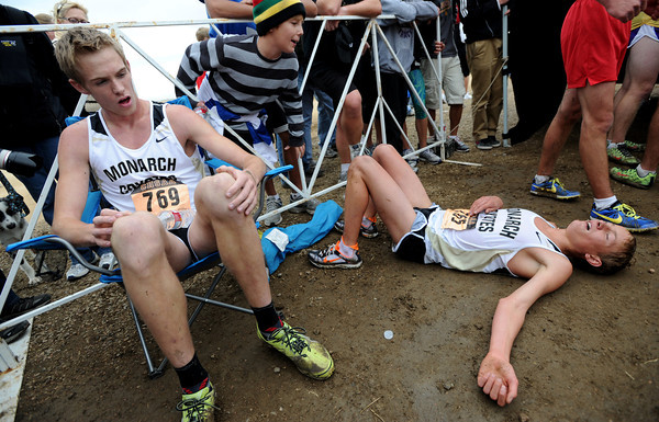 """Kirk Webb, left, and Michael Reese, both of Monarch, recover after the race. Webb was first.<br /> For more photos of state, go to  <a href=""""http://www.dailycamera.com"""">http://www.dailycamera.com</a>.<br /> Cliff Grassmick / October 29, 2011"""