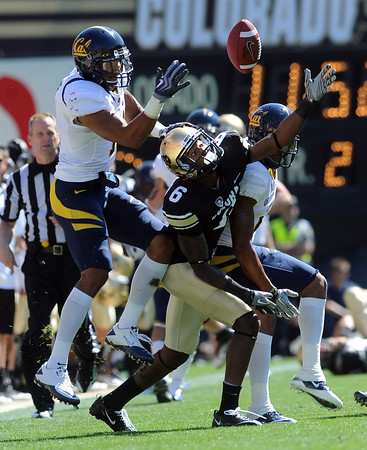 """D.J. Campbell, left, of California is able to keep this pass away from Paul  Richardson of CU, who had a record day.<br /> For more photos of the CU game, go to  <a href=""""http://www.dailycamera.com"""">http://www.dailycamera.com</a>.<br /> Cliff Grassmick / September 10, 2011"""