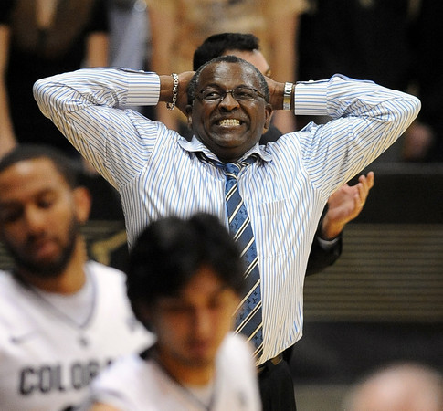 "Cali-State Bakersfield's head coach, Rod Barnes, reacts to play<br /> during the second half of the December 19, 2011 game in Boulder.<br /> For more photos of the game, go to  <a href=""http://www.dailycamera.com"">http://www.dailycamera.com</a>.<br /> December 19, 2011 / Cliff Grassmick"
