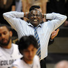 """Cali-State Bakersfield's head coach, Rod Barnes, reacts to play<br /> during the second half of the December 19, 2011 game in Boulder.<br /> For more photos of the game, go to  <a href=""""http://www.dailycamera.com"""">http://www.dailycamera.com</a>.<br /> December 19, 2011 / Cliff Grassmick"""