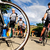 The Gene Team002.JPG Howard Bernstein, left, Andrew Spaziani, and Rich Bovarnick, right, prepare to depart on a team bicycle ride on Saturday, July 9, at Amante Coffee at 4580 Broadway in Boulder.<br /> Jeremy Papasso/ Camera