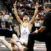 Pueblo South High School wrestler Robert Deherrera shows his emotion after defeating Broomfield's Cortland Hacker during the Colorado State Class 4A 125-pound championship match on Saturday, Feb. 19, at the Pepsi Center in Denver.<br /> Photo by Jeremy Papasso