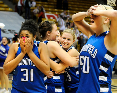 Broomfield High School players senior Tyana Medema, left, and senior Bre Burgesser, right, show their emotion after defeating Longmont during the girls class 4A Final Four championship game on Friday, March 11, at the Coors Events Center on the University of Colorado campus in Boulder. Broomfield won the game 48-38. Jeremy Papasso/ Camera