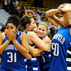 Broomfield High School players senior Tyana Medema, left, and senior Bre Burgesser, right, show their emotion after defeating Longmont during the girls class 4A Final Four championship game on Friday, March 11, at the Coors Events Center on the University of Colorado campus in Boulder. Broomfield won the game 48-38.<br /> Jeremy Papasso/ Camera