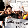 "Jorge Negrete, raises his hand and cheers as he marches for Cesar Chavez day on Friday, April 1, at Pioneer Bilingual Elementary School in Lafayette. For more photos and a video of the march go to  <a href=""http://www.dailycamera.com"">http://www.dailycamera.com</a><br /> Jeremy Papasso/ Camera"