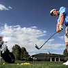 0926NICK.jpg Broomfield golfer Nick Reisch hits practice balls on the driving range at Broadlands Golf Course in Broomfield, Colorado September 26, 2011.   CAMERA/Mark Leffingwell
