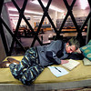 NORLIN1.jpg Michael Palmisano, a senior History major at the University of Colorado finds a cozy spot to work on his senior thesis at the Norlin Library on the CU Boulder Campus Monday afternoon December 19 2011. Palmisano was staying on campus to finish the project but planned on spending some the the winter break in the mountains skiing. <br /> Photo by Paul Aiken Aiken / The Camera