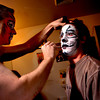 "CATS279.JPG Stephen Bertles, left, who plays Mungojerrie, one of a pair of cat-burglars, helps Benji Tompkins, who plays Mr. Mistoffelees, apply his makeup in the Boulder's Dinner Theatre dressing rooms on Tuesday April 26 2011.<br /> FOR MORE PHOTOS AND A VIDEO OF THE MAKEUP WORK GO TO  <a href=""http://WWW.DAILYCAMERA.COM"">http://WWW.DAILYCAMERA.COM</a><br /> Photo by Paul Aiken / The Camera"