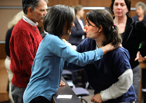 NOV17MOLLY.jpg Jane Bowers hugs her daughter Molly Bowers after a hearing Thursday November 17, 2011 at the Boulder County Justice Center. Bowers, formerly Molly Midyette, is asking for a new trial in the death of her son.<br /> Photo by Paul Aiken / The Camera