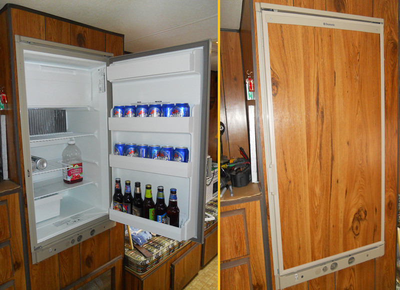 Replaced the old Fridge with a brand new one, Labatts not included! The Fridge works off of 120 volts, LP gas and 12 volts.