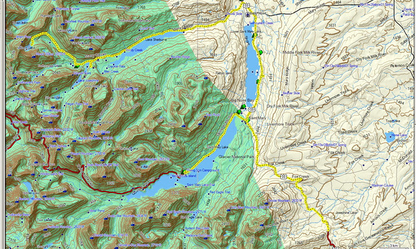 """Nous partons vers Iceberg lake, une """"fameuse"""" randonnée Carte du trajet de toute la journée"""