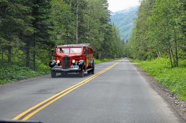 un bus rouge dans son élément naturel