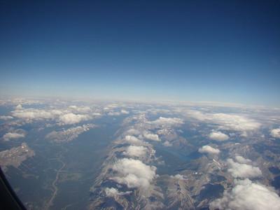 au nord de la route, Banff, et au dessus, la montagne où nous étions montés!
