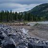 Stones and destructed pier at riverside, Kananaskis Country, Southern Alberta, Alberta, Canada