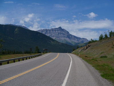 Highway 541 with mountains in the background, Kananaskis Country, Southern Alberta, Alberta, Canada