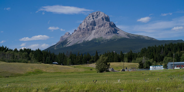Crowsnest Mountain seen from meadow, Coleman, Alberta, Canada