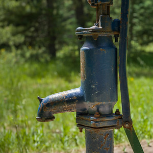 Close-up of hand pump near Livingstone Falls, Kananaskis Country, Southern Alberta, Alberta, Canada