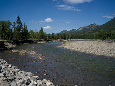 River flowing through landscape, Kananaskis Country, Southern Alberta, Alberta, Canada