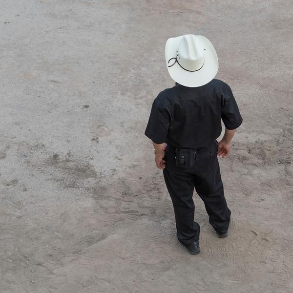 High angle view of a man standing, Calgary Stampede, Calgary, Alberta, Canada