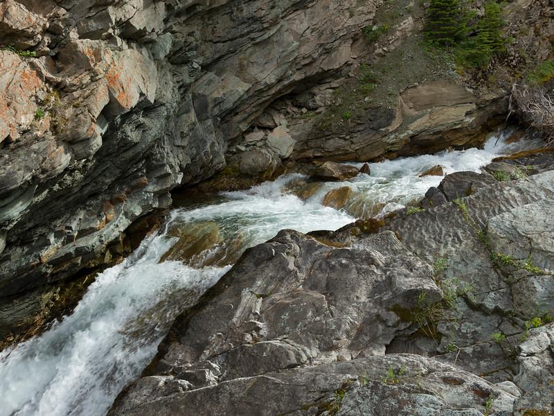 Elevated view of Blakiston Falls, Waterton Lakes National Park, Alberta, Canada