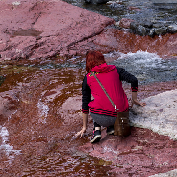 Rear view of a woman at lakeshore, Red Rock Canyon Parkway, Waterton Lakes National Park, Alberta, Canada