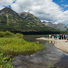 Tourists at lakeshore, Waterton Lake, Waterton-Glacier International Peace Park, Waterton Lakes National Park, Alberta, Canada