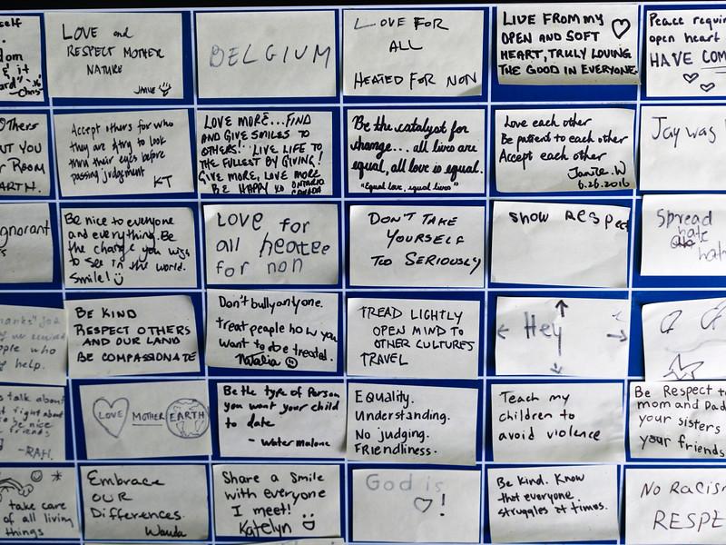 Close-up of hand written messages, Waterton-Glacier International Peace Park, Waterton Lakes National Park, Alberta, Canada