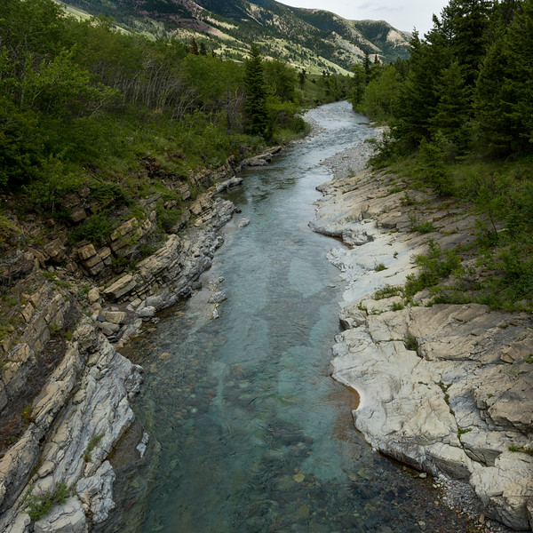 Elevated view of Crandell Lake Trail, Waterton Lakes National Park, Alberta, Canada
