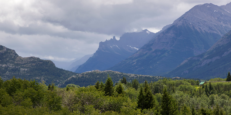 Scenic view of mountain range, Waterton Lakes National Park, Alberta, Canada