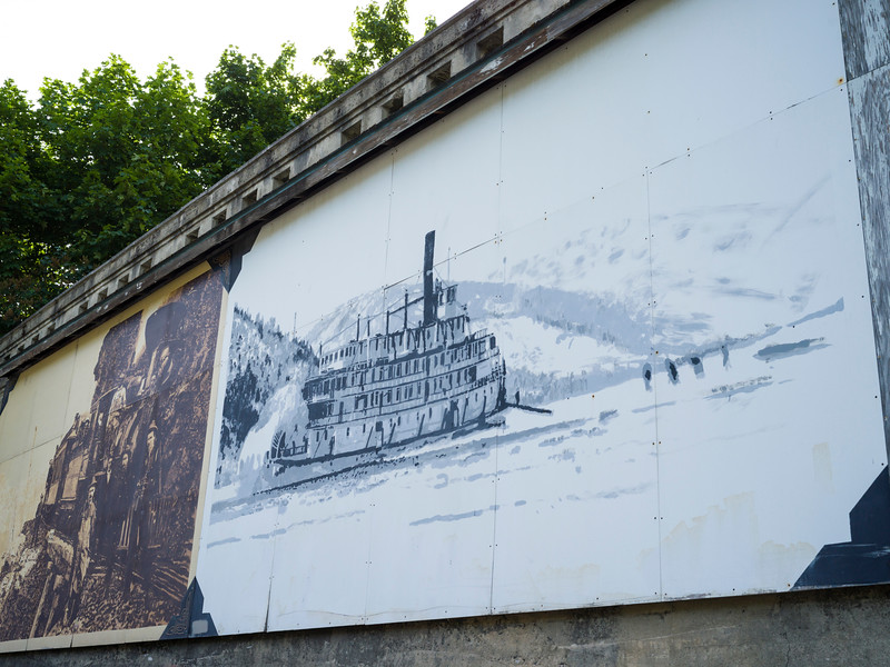 Billboards of a paddle boat on wall, Nelson, British Columbia, Canada