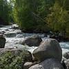White rapids flowing through rocks, Riondel, British Columbia, Canada